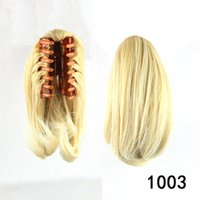 Precio de Resistente para el cabello de calor-Fashion Ladies Natural Ponytail Corto Extensiones de Cabello Fibra Resistente al Calor Hair Synthetic Hair Wavy Claw Clip in Hairpieces