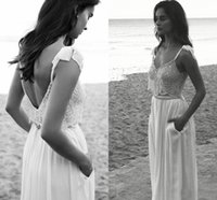 Wholesale NEW Lace Wedding Dresses Spaghetti Neck Bow Lihi hod Beads Backless Bride Gowns Sweep Train Vintage Beach Chiffon Wedding Dress