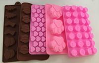 Wholesale 5pcs Chocolate Mold Cake Decoration Silicone Cat Dog Paw Emoji Expression Heart Christmas Soap Candy Mold