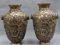 antique silver vase - Modern Art Sculpture Figurine quot Tibet Silver Buddhism Folk Fly Dragon Head Statue Marked Pot Vase Pair Vase decoration