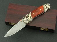 acid copper - High quality Damascus WH small acid branch Knife Double copper head Red rosewood Handle High grade wooden box packaging