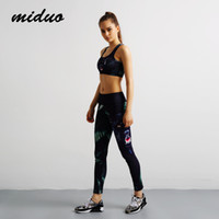 Wholesale Women Sport Yoga Suit sets Slim High Elastic Jumpsuit Jogging Sportwear Gym D Print Breathable Tight Europe Running Training Set