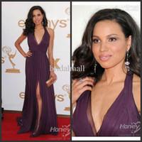 Wholesale 2011 Emmy Awards Jurnee Smollett Deep V Necklie Chiffon Celebrity Dress MA109