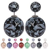 bead pattern earrings - China Ware Pattern Beads Earrings Studs Women Fashion Double Side Studs Colors Girls Vintage Charm Earrings PRS