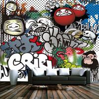 Бесплатная доставка 3D Стерео Custom Мода Ретро Кирпичная стена Граффити Фрески Фон стены Картина маслом для гостиной