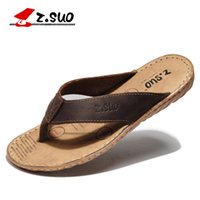 Wholesale Z Suo men s flip flops leisure fashion leather flip flops goosegrass sole waterproof sandals Sandalias DE cuero DE los hombres