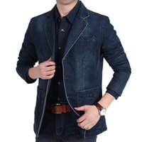 Wholesale Bigger Size Denim Blazer Men Casual Suit Jacket High Quality Spring Autumn Men s Top Clothing blazer hombre
