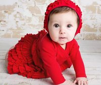 Wholesale 2016 Newborn Baby Girls cotton autumn winter Clothes caps set baby red pink dress Clothing Sets Infant long sleeve Christening dresses