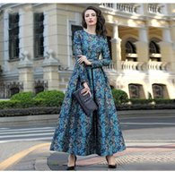 Wholesale 2016 New arrival Autumn winter embroidery printed silk jacquard Full skirted dress posed long skirt waist Manufacturers