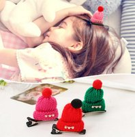 Wholesale Christmas gift Children Diamond Gift Cute Headwear Wool Hat Hair Clips Cap Hairpins Girls women Barrettes