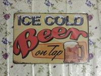 Bière glacée sur le robinet Vintage Decorative Craft Tin Sign Rétro peinture en métal Antique Affiche Bar Pub Signs Wall Art