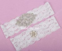 Wholesale 2016 In Stock Real Picture Full Crystals Bridal Garter for Bride Lace Wedding Garters White Ivory Cheap Leg Garter