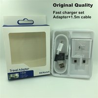 Wholesale For Samsung Fast Charger Quick Wall Travel Chargers Set Adapter Micro USB Cable in Home Charging EU US UK Plug for s6 s7 Edge note