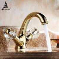 Wholesale Double handle crystal gold bathroom basin tap sink faucet water faucet Antique gold washbasin faucet AL K