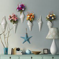 Wholesale Elegant Conch Shaped Ceramic Wall Hanging Planter Vase Mural with Flower For Hotel Cafe Home Decoration