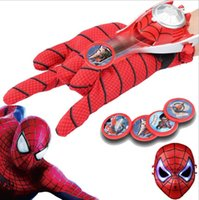 animation disks - Children s educational toys Spiderman gloves with transmitter Character animation around Flying Disk