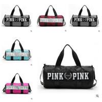 Wholesale Pink Bag Women Handbags Love VS Large Capacity Travel Duffle Striped Waterproof Beach Shoulder Bag Christmas Gifts