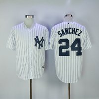 Wholesale New Baseball Jerseys Yankees Sanchez Jersey White Stripe Color With Name Team Jersey Stitched Size Mix Order All Jerseys