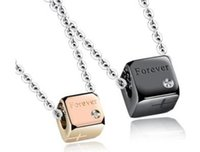articles steels - Exquisite diamond cubic titanium steel couple necklace The square is small adorn article two colors can choose shipping free