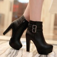 beige platform booties - Womens Faux Leather Comfortable Ankle Boots Platform High Heel Booties for Women Fashion Buckle Winter Dress Shoes Black White
