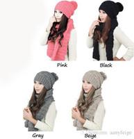 al por mayor diseñador de las señoras al por mayor de sombreros-El sombrero y las bufandas al por mayor del invierno fijaron para los sombreros calientes de las lanas de las muchachas del juego de las mujeres espesa la bufanda multicolora