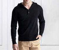 Wholesale V Neck Hooded Long Sleeves Regular Fit Men s Knitwear Men s Sweater