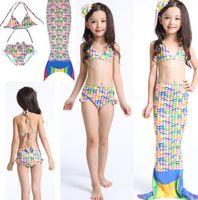 beach bathing girls - Girls Mermaid Tail Swimsuits Kids Mermaid Bikini Hot Sale Girls Swimsuits Kids Beach Swimwear Mermaid Bathing Suits Set KKA1311