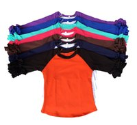 Wholesale Whole sales kids icing raglan shirt baby cotton top girls double ruffle cuff Infant clothes