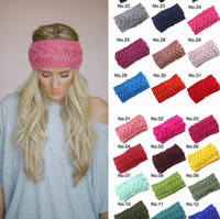Wholesale 31 Colors Crochet Headband Knit Hairband Flower Winter Women Girls Wrap Ear Warmer Head Wrap Band Hair Accessories PPA738