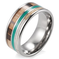 Wholesale 2016 SHARDON High quality Men s mm Titanium Wedding Band with Green Circle Real Antler and Wood Inlay