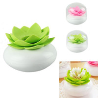 Vente en gros - 2016 Nouveau design Charmant Chic Lotus Flower Cotton Bud Holder Toothpick Case Cotton Swab Box Vase Decor Livraison gratuite / Vente en gros