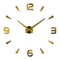 Wholesale Hot Sale Wall Clock Reloj De Pared Acrylic Mirror Clocks Europe Diy d Stickers Large Decorative Quartz Watch Living Room