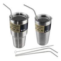 bar kit set - 304 Stainless Steel Straw Metal Drinking Straw Beer YETI Straws Cleaning Brush Set Retail Kit Fits Yeti Tumbler Rambler Cups