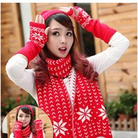 Wholesale Autumn and winter new women s wool knit hat scarf gloves three piece sets of ear protection head cap snowflake fashion personality Christmas