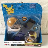 Wholesale Clip n carry poke ball belt adjustable poke belts poke figures cross belt kids Cosplay pokeball pikachu belts poke tomy kids christmas gifts