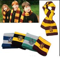 Wholesale Harry Potter Stripe Scarves Winter warm scarf Ravenclaw Scarf Gryffindor Scarf Magic School Slytherin Knit Scarves Cosplay Scarves