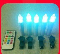 LED sin llama Taper velas de marfil con clips remotos y extraíbles, efecto de goteo, juego de 10 unidades de luces de Navidad