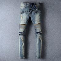 Wholesale Balmain Jeans For Men Straight Leg Knee Drape Panel Moto Biker Jeans Skinny Slim Stretch Denim