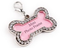 Wholesale Pet Dog Id Tag Luxury Crystal Decorated Anti Lost Dog Id Tags with Split key Ring Bone