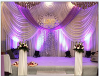 Wholesale 20ft ft Luxury Wedding backdrop with swags event and party fabric beautiful wedding backdrop curtains including middle sequin