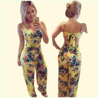 New Women Bodycon Clubwear Été Ladies Casual Spaghetti Strap Combinaison Combinaison en vrac Jaune Imprimé Back Hollow Out Long Longueur Overalls