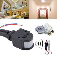 Wholesale 2017 Automatically m Infrared PIR Motion Sensor Switch Lines Black AC220V Body Sensor Infrared Switch Worldwide