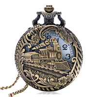 antique pendant watch - Vine Bronze Train Carved Steampunk Gears Skeleton Quartz Pocket Watch Pendant Men Clock Women Necklace Chain Gift