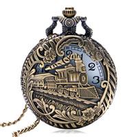 Wholesale Vintage Bronze Train Carved Steampunk Gears Skeleton Quartz Pocket Watch Pendant Men Clock Women Necklace Chain Gift