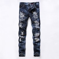 bar jeans - Skinny Jeans Men Club Bar Embroidered Flares dsq2 Jeans Brand Biepa Distressed Jeans Club Skinny