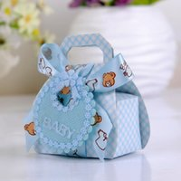 Wedding Pink, Blue, Beige Party Favor Wholesale-Bear Shape DIY Paper Gift Box Christening Baby Shower Party Favor Boxes Paper Candy Box with Bib Tags & Ribbons12pcs