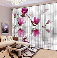 Wholesale Custom curtain any size decorative home decor stereoscopic magnolia flower curtains living room window