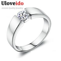 Wholesale 50 off Silver Wedding Rings for Women Men Sterling Silver Crystal Simulated Diamond Ring Jewelry Anel Ulove J002