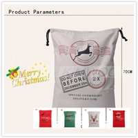 Wholesale Christmas ornament Large Canvas Monogrammable Santa Claus Drawstring Bag With Reindeers Monogramable Christmas Gifts Sack Bags