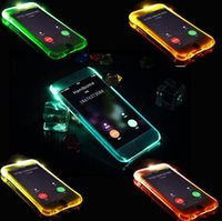 alert lighting - Crystal Clear Transparent Skin TPU PC LED Flash Light Up Case Remind Color Alerts Cover for iPhone SE S Plus Samsung S7 S6 Edge Note